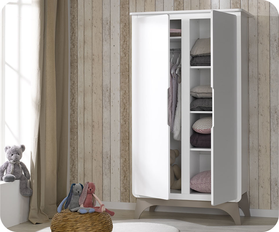 armoire b b pepper blanche et lin achat armoire chambre. Black Bedroom Furniture Sets. Home Design Ideas