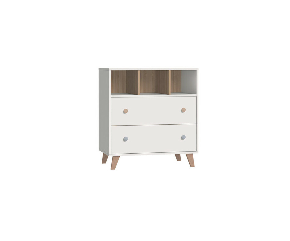 Commode Pepper Blanche 2 tiroirs