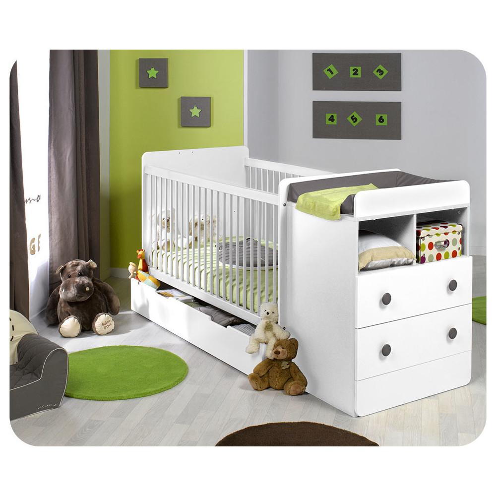 lit b b volutif barreaux malte couleur blanc. Black Bedroom Furniture Sets. Home Design Ideas