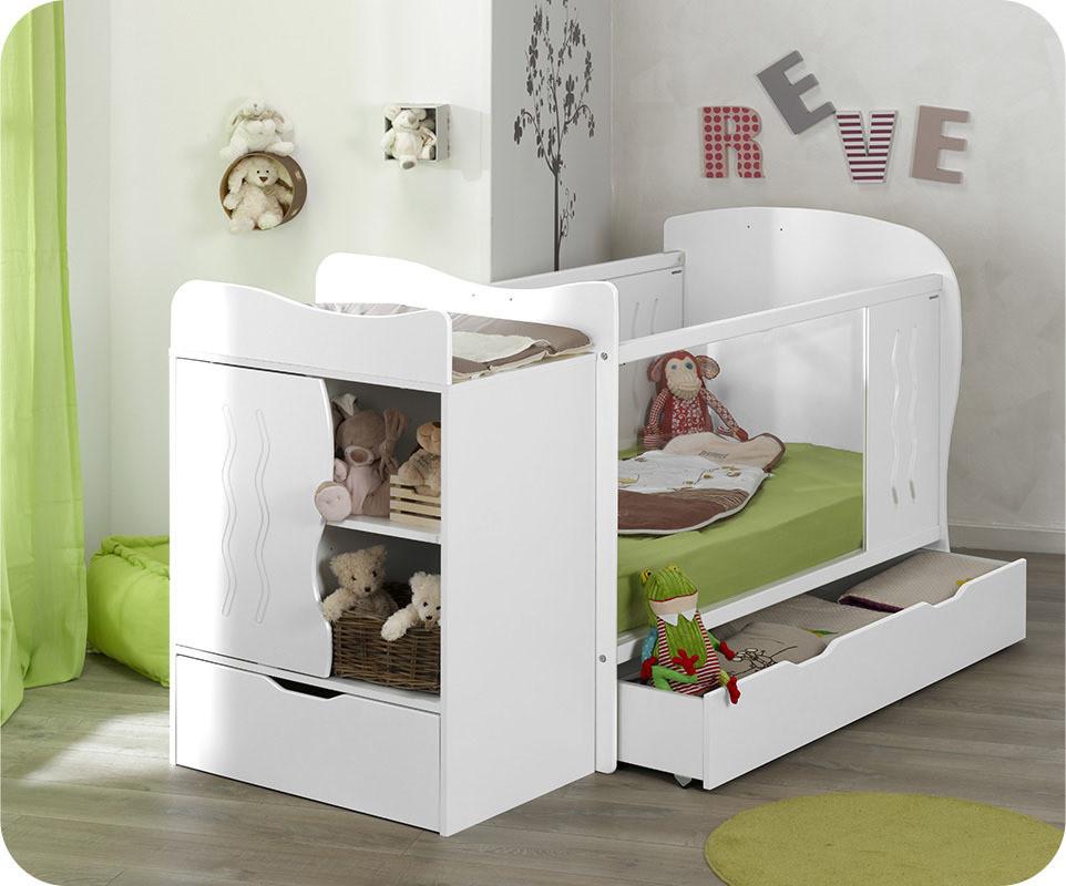lit b b volutif combin jooly blanc 70x140 cm. Black Bedroom Furniture Sets. Home Design Ideas