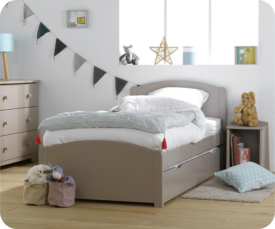 lit gigogne enfant nature lin 90x190 cm. Black Bedroom Furniture Sets. Home Design Ideas