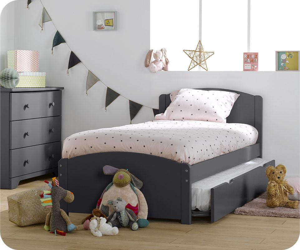 lit enfant gigogne nature gris anthracite 90x190 cm. Black Bedroom Furniture Sets. Home Design Ideas