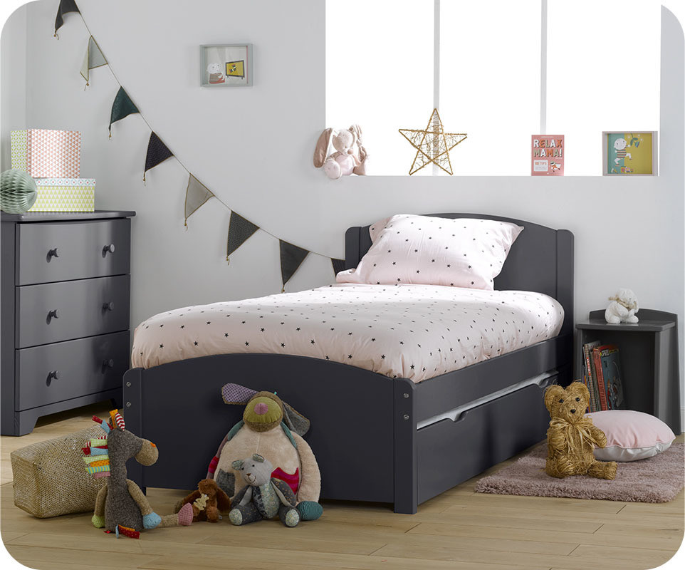 lit enfant gigogne nature gris anthracite 90x190 cm. Black Bedroom Furniture Sets. Home Design Ideas