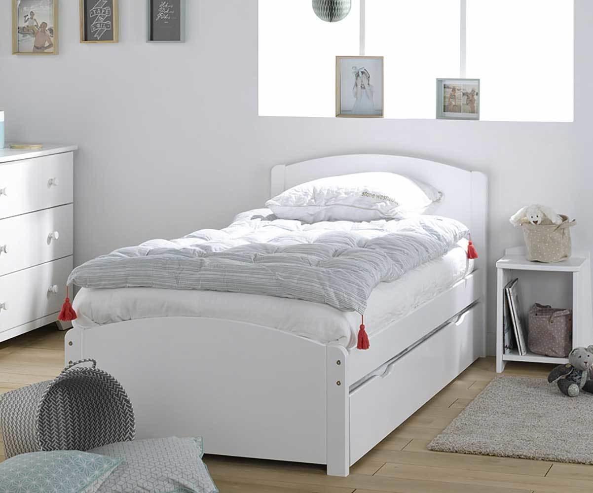 Lit enfant gigogne nature blanc 90x190 cm avec 2 matelas for Deco chambre enfant avec achat matelas latex 90x190