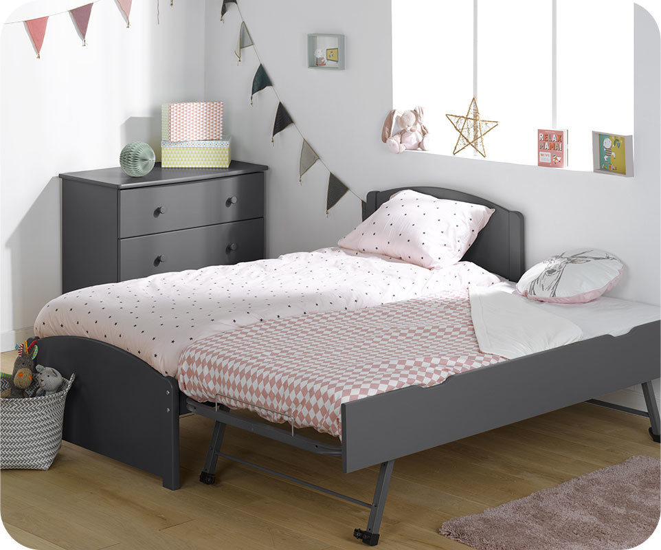 lit enfant gigogne nature gris anthracite 90x190 cm avec 2. Black Bedroom Furniture Sets. Home Design Ideas