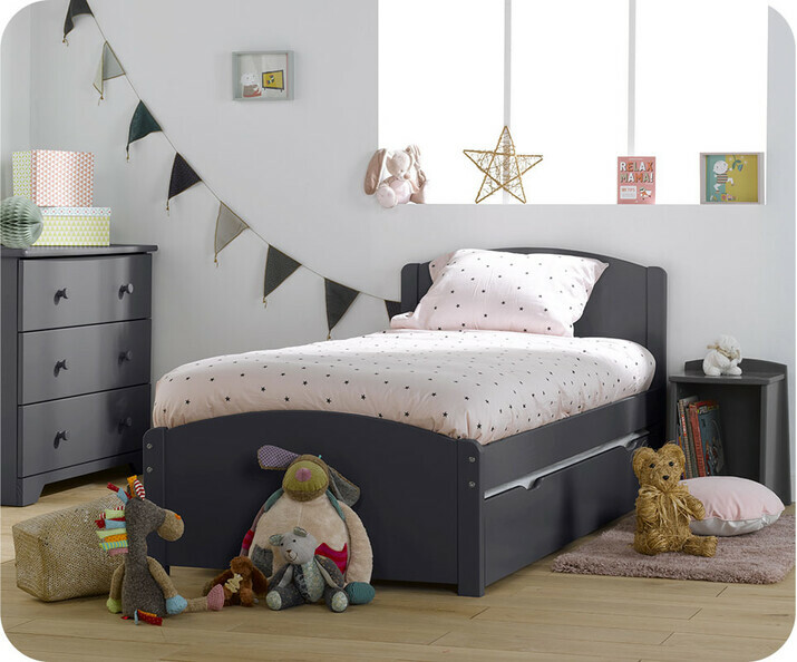 Pack Lit Enfant Gigogne Nature Gris Anthracite 90x 190 cm