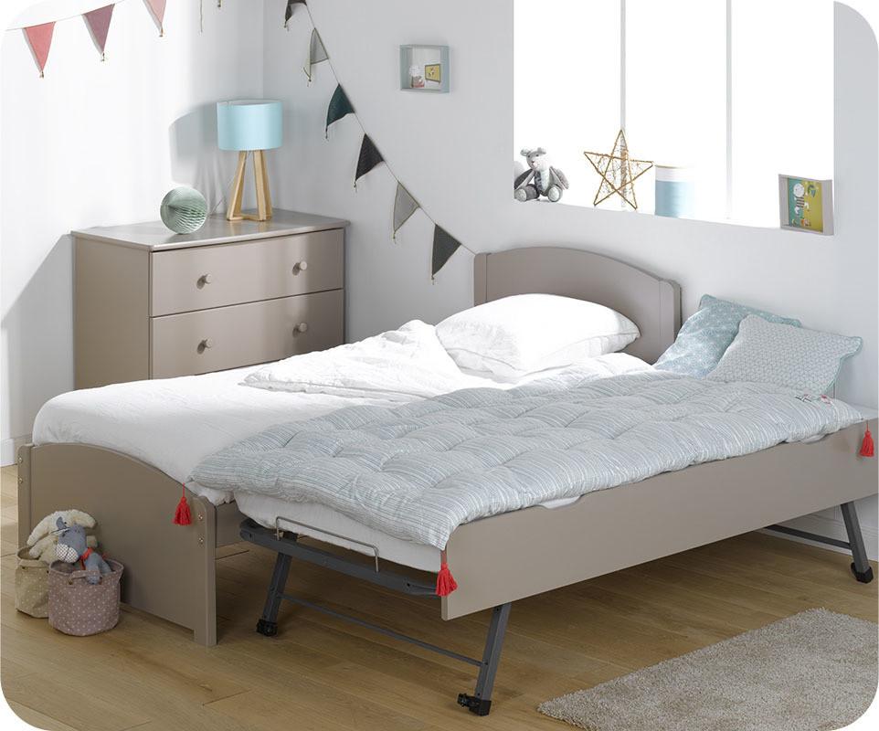 pack lit enfant gigogne nature lin 90x190 cm avec 2 matelas. Black Bedroom Furniture Sets. Home Design Ideas