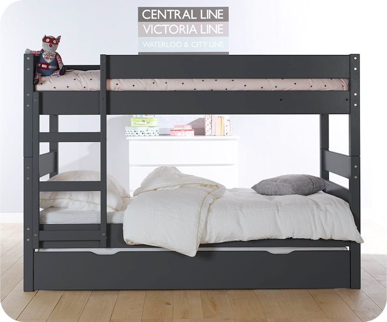 lit enfant superpos gris anthracite 90x190 cm. Black Bedroom Furniture Sets. Home Design Ideas