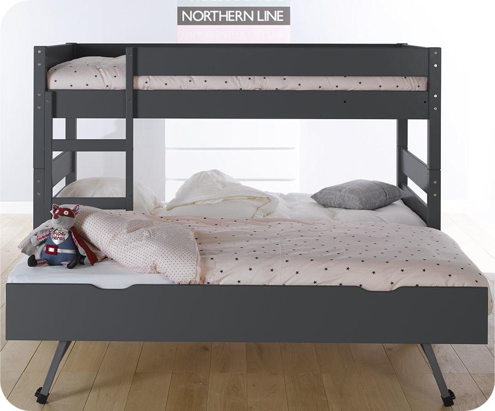 lit superpos enfant 1 2 3 gris 90x190 cm avec sommier gigogne. Black Bedroom Furniture Sets. Home Design Ideas