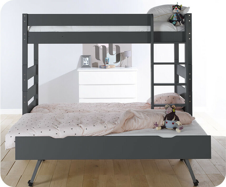 lit superpos kids gris anthracite 90x190 cm avec sommier gigogne. Black Bedroom Furniture Sets. Home Design Ideas