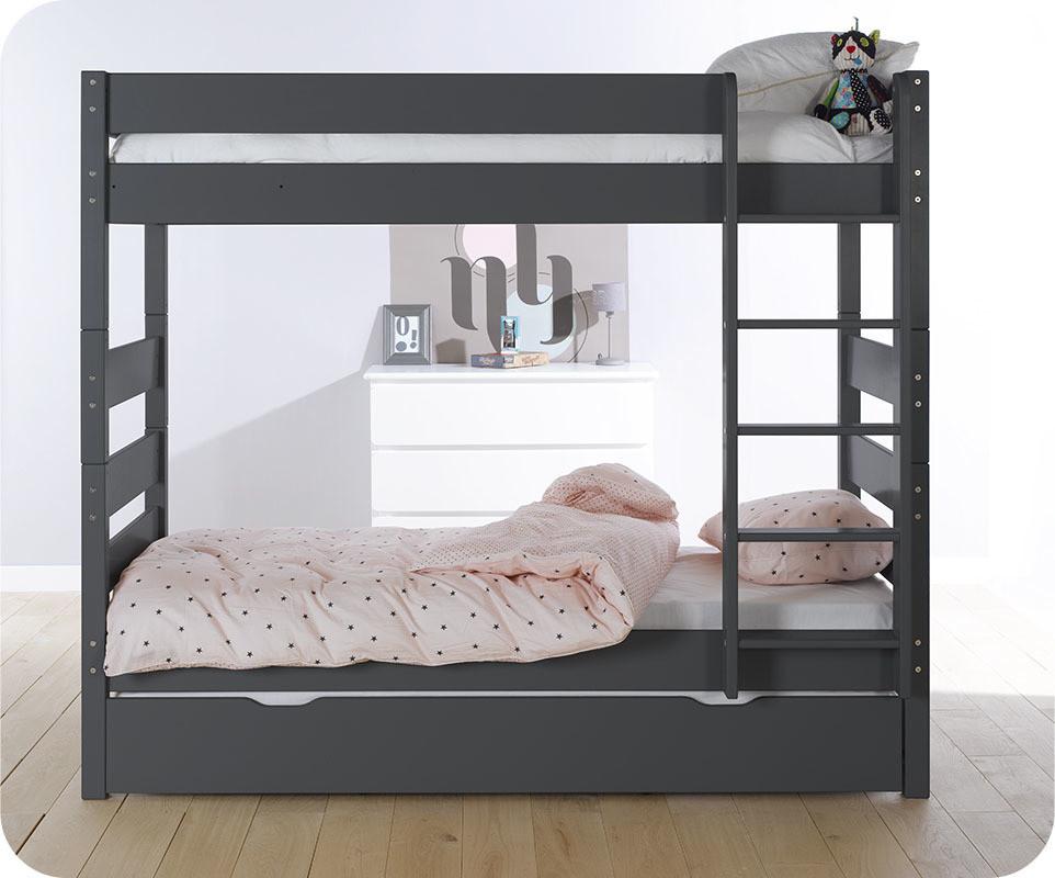 Lit superpos kids gris anthracite 90x190 cm avec sommier - Lit superpose avec lit gigogne ...