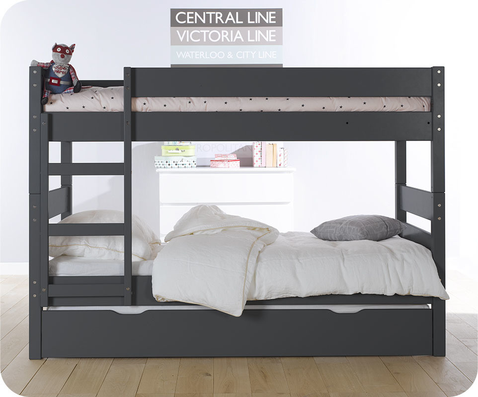 pack lit superpos kids gris anthracite 90x190 cm avec 2 matelas. Black Bedroom Furniture Sets. Home Design Ideas
