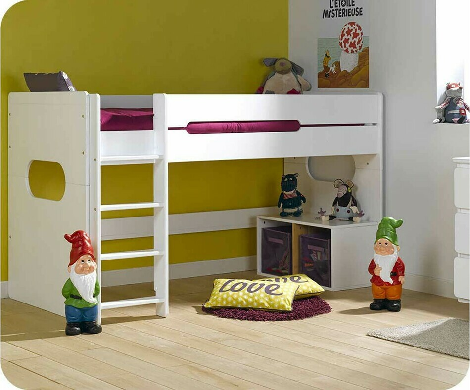 lit enfant mi hauteur spark blanc 90x200 cm. Black Bedroom Furniture Sets. Home Design Ideas