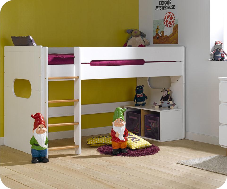 lit enfant mi hauteur spark blanc et h tre naturel 90x200 cm. Black Bedroom Furniture Sets. Home Design Ideas