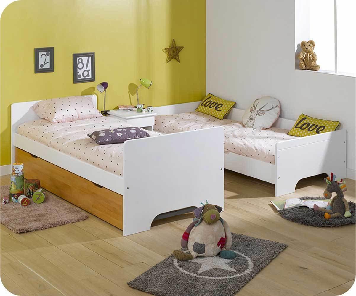 lit superpos enfant spark blanc et h tre 90x200 cm avec 2 matelas. Black Bedroom Furniture Sets. Home Design Ideas