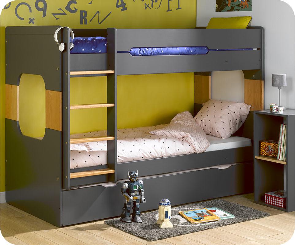Pack lit superpos enfant spark gris et h tre 90x200 cm - Lit superpose avec matelas ...