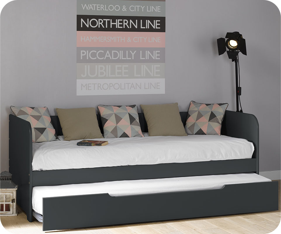 pack lit gigogne bali gris anthracite 80x200 cm avec 2 matelas. Black Bedroom Furniture Sets. Home Design Ideas
