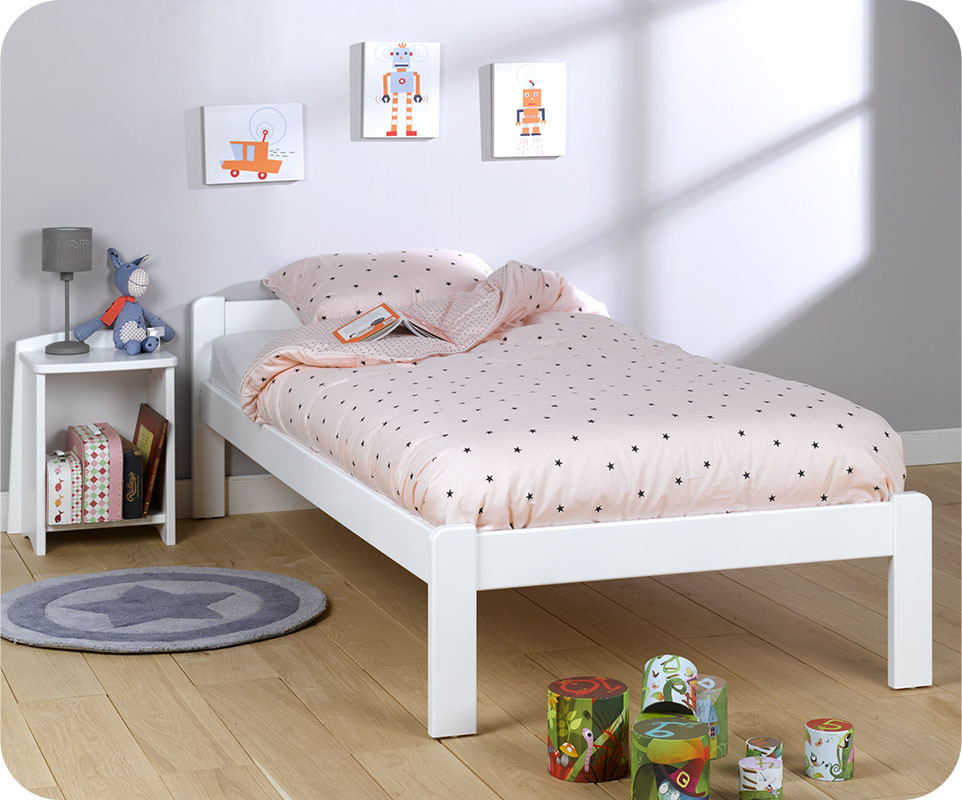 pack lit enfant beddy blanc 90x190 cm avec matelas. Black Bedroom Furniture Sets. Home Design Ideas