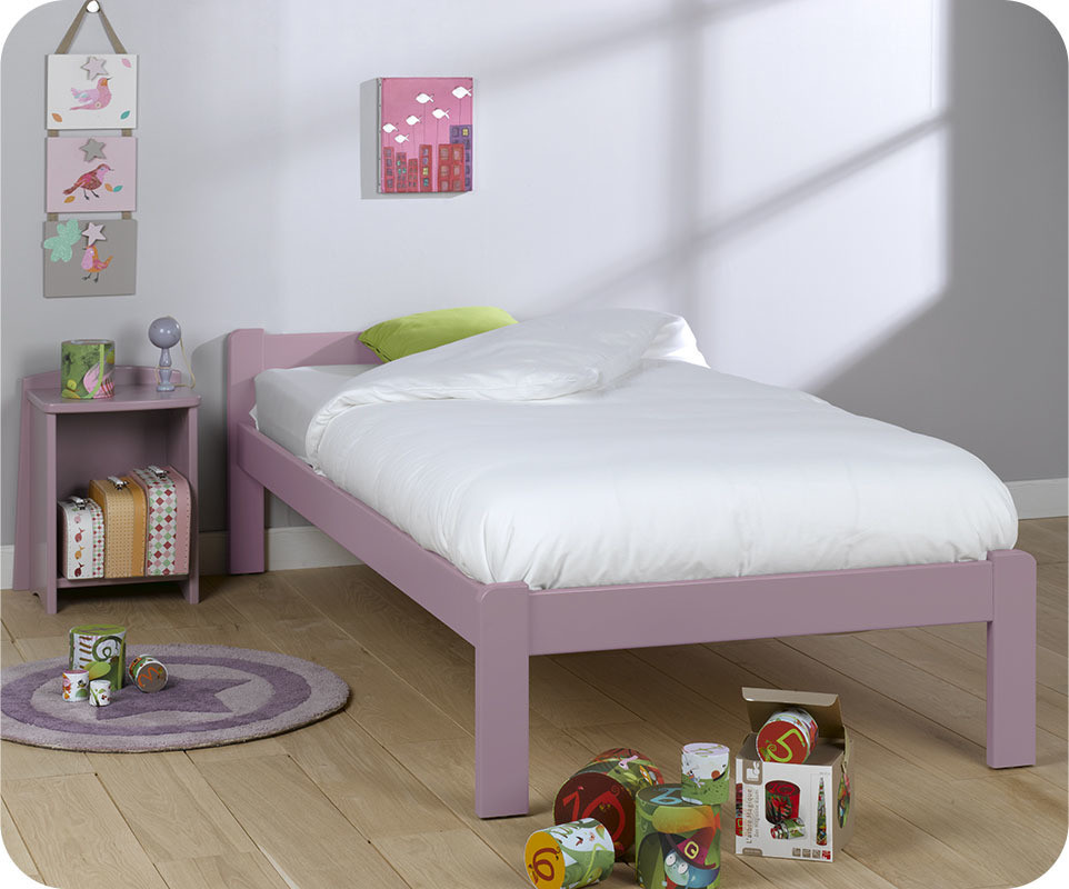 pack lit enfant beddy lilas 90x190 cm livr sommier et matelas. Black Bedroom Furniture Sets. Home Design Ideas