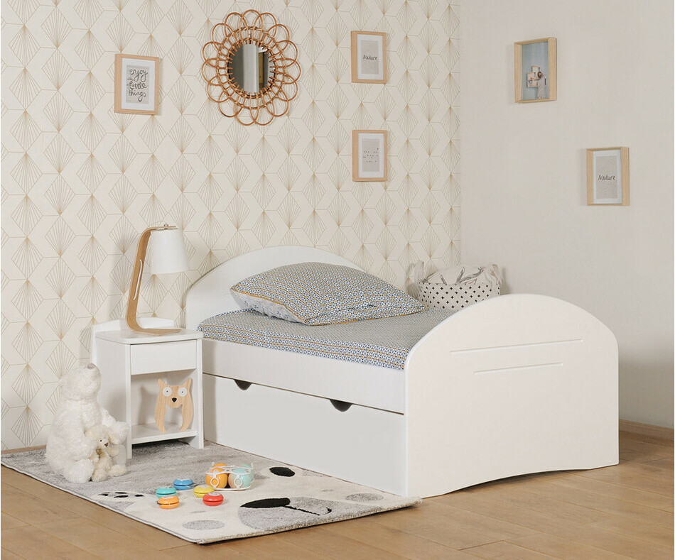 pack lit enfant volutif spoom blanc avec tiroir de lit et matelas. Black Bedroom Furniture Sets. Home Design Ideas