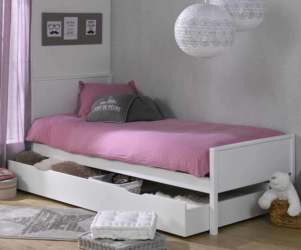 lit ado ines blanc 90x200 cm avec sommier et matelas. Black Bedroom Furniture Sets. Home Design Ideas