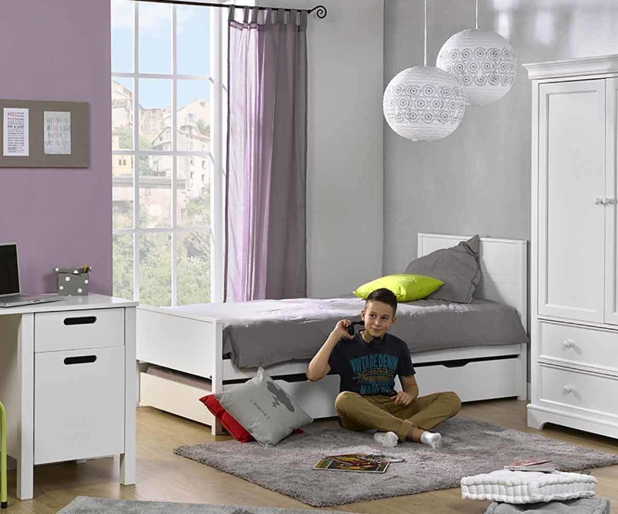 lit enfant ines en bois avec sommier et matelas. Black Bedroom Furniture Sets. Home Design Ideas