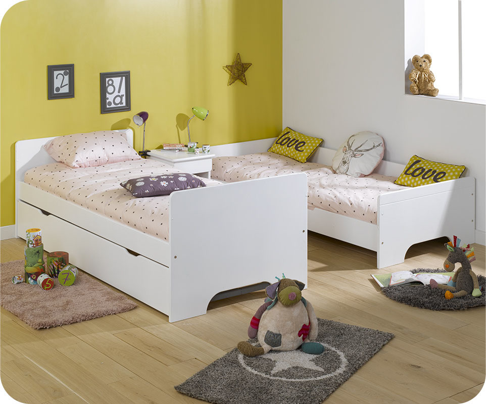 lit superpos spark blanc h tre 90x200 cm avec sommier gigogne blanc. Black Bedroom Furniture Sets. Home Design Ideas