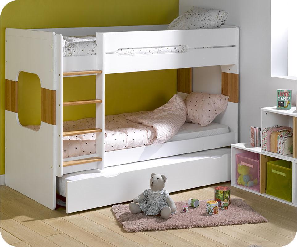 lit superpos spark blanc h tre 90x200 cm avec sommier. Black Bedroom Furniture Sets. Home Design Ideas