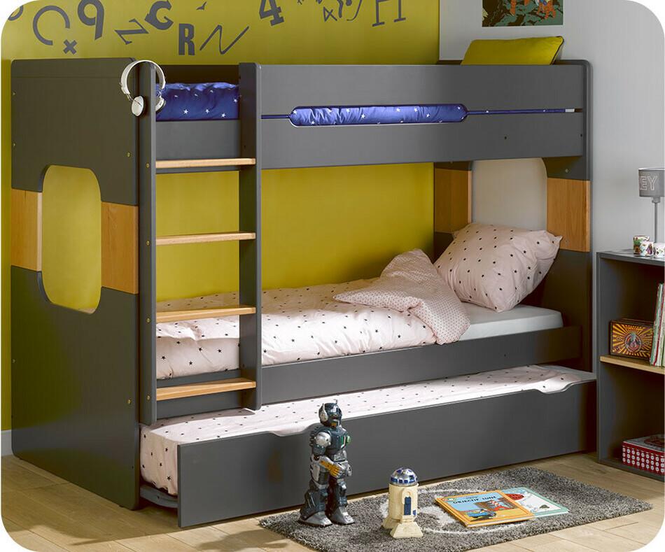 lit superpos spark gris et h tre 90x200 cm avec sommier gigogne gris. Black Bedroom Furniture Sets. Home Design Ideas