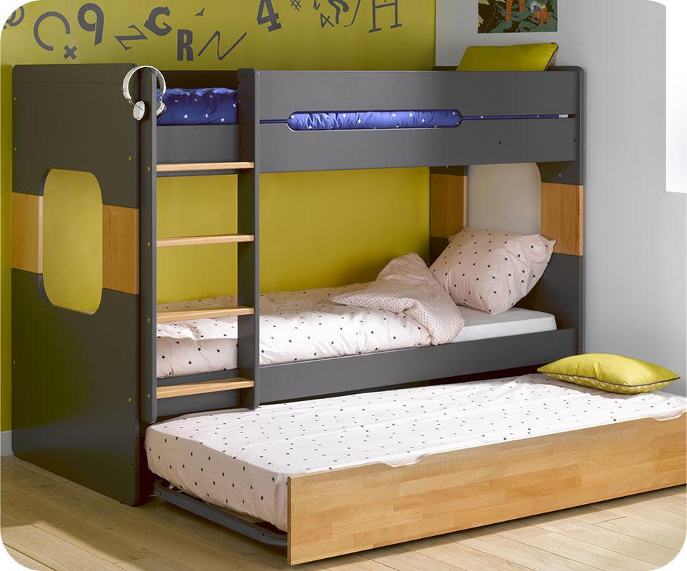lit superpos spark gris et h tre 90x200 cm avec sommier. Black Bedroom Furniture Sets. Home Design Ideas