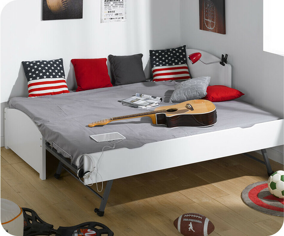 lit gigogne nature blanc 90x200 cm. Black Bedroom Furniture Sets. Home Design Ideas