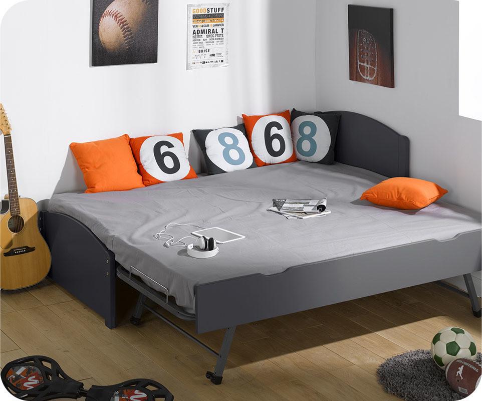 lit gigogne nature gris anthracite 90x200 cm. Black Bedroom Furniture Sets. Home Design Ideas