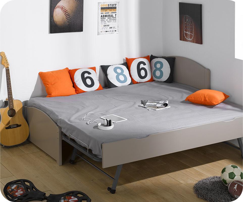 lit gigogne nature lin 90x200 cm. Black Bedroom Furniture Sets. Home Design Ideas