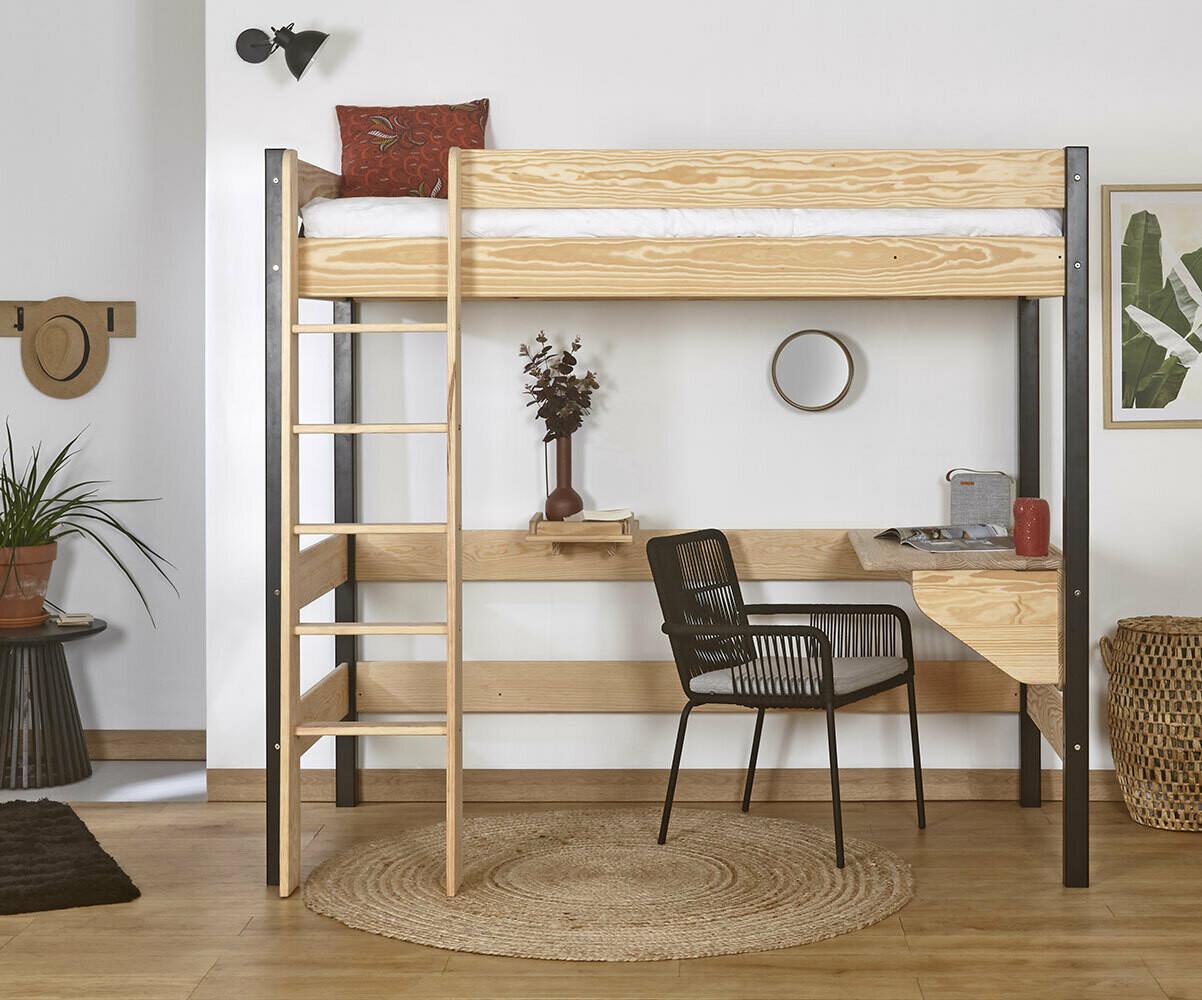 lit mezzanine enfant clay blanc achat vente mobilier bois massif. Black Bedroom Furniture Sets. Home Design Ideas