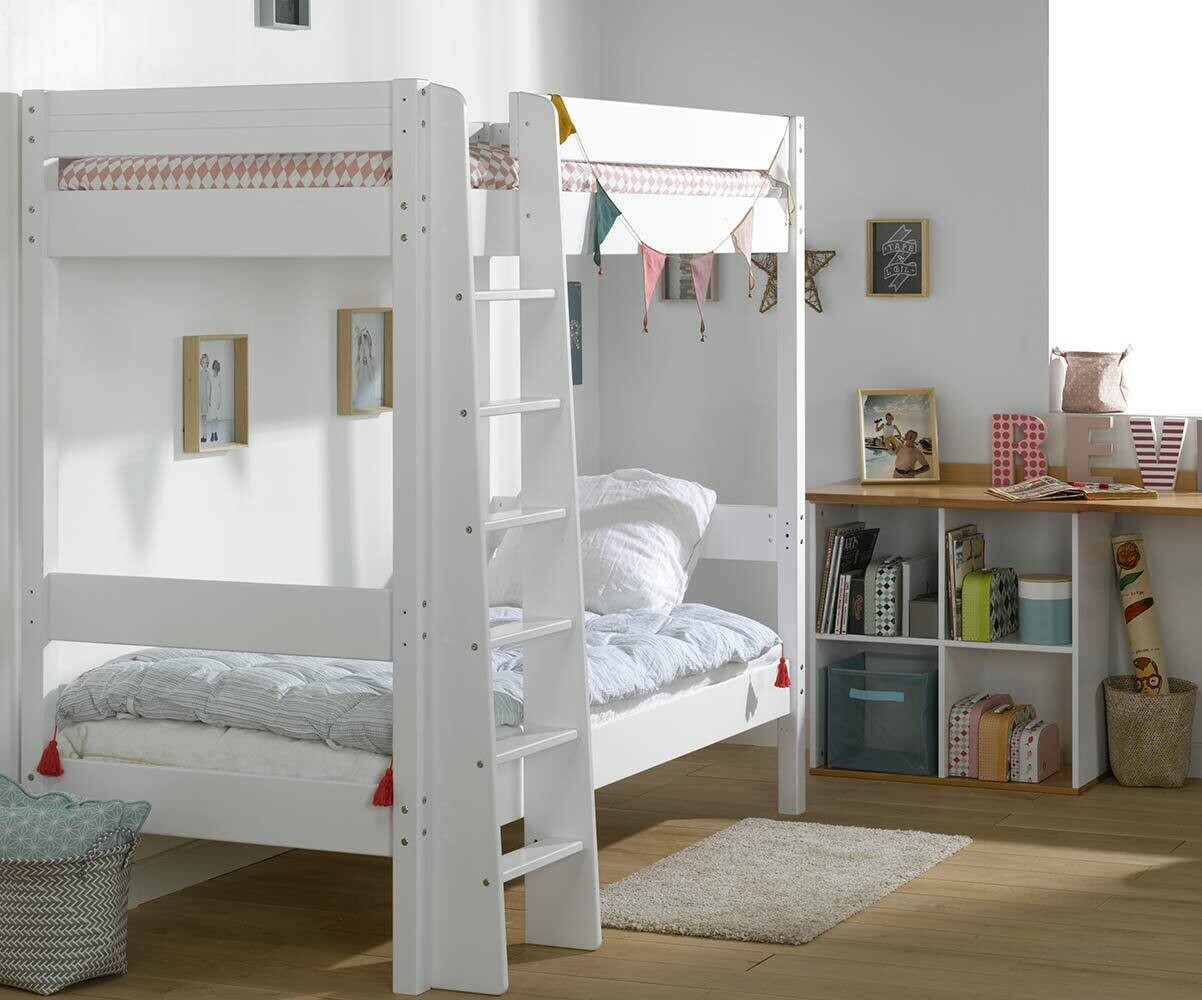 lit superpos enfant clay blanc achat vente mobilier bois massif. Black Bedroom Furniture Sets. Home Design Ideas
