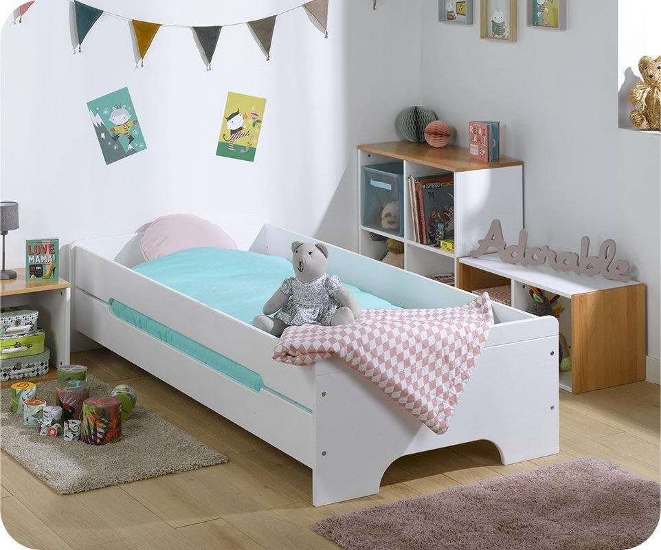 lit enfant teen blanc avec matelas et sommier. Black Bedroom Furniture Sets. Home Design Ideas
