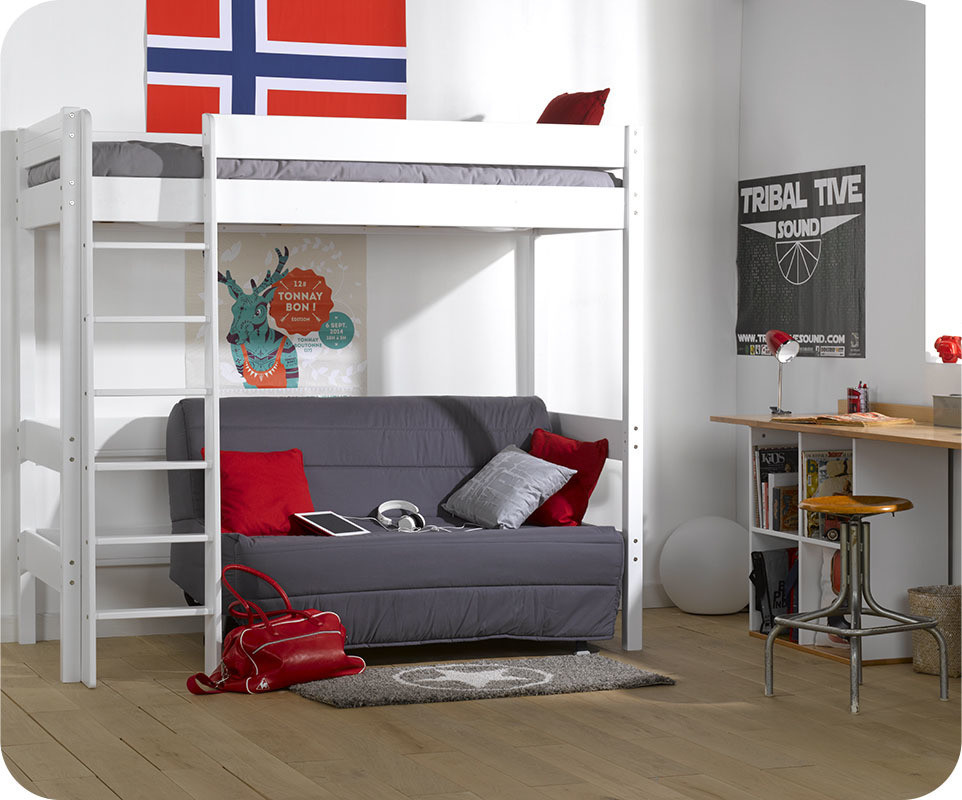 lit mezzanine enfant clay blanc avec matelas. Black Bedroom Furniture Sets. Home Design Ideas