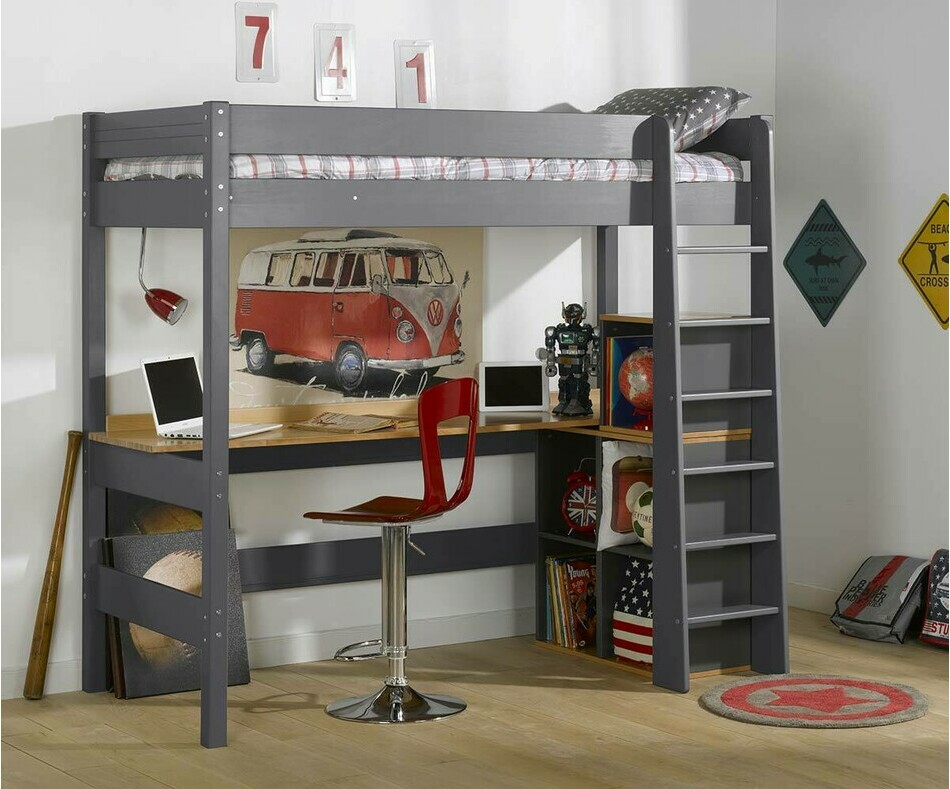 Lit Mezzanine Enfant Clay Gris Anthracite 90 x 190 cm avec Bureau en Option