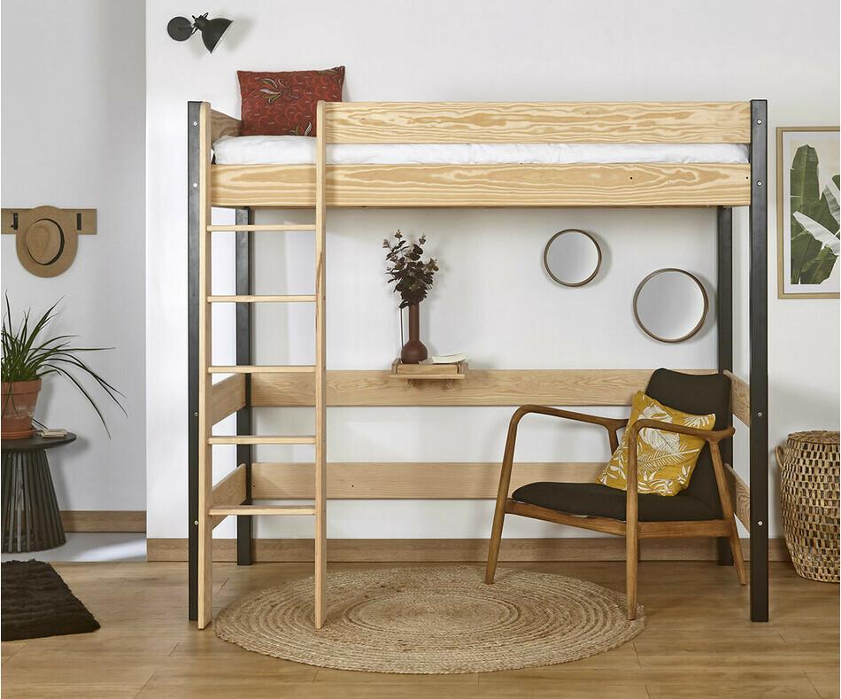lit mezzanine enfant clay gris anthracite 90x190 cm avec matelas. Black Bedroom Furniture Sets. Home Design Ideas