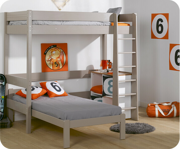 Lit Mezzanine Enfant Clay Lin 90 x 190 cm avec Lit Beddy en Option