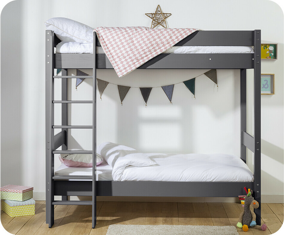lit superpos enfant clay gris anthracite 90x190 cm avec matelas. Black Bedroom Furniture Sets. Home Design Ideas