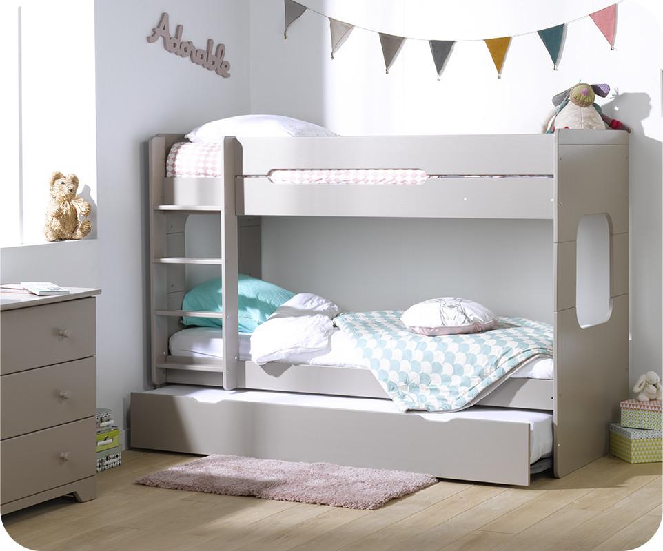 lit superpos spark lin 90x200 cm avec sommier gigogne lin. Black Bedroom Furniture Sets. Home Design Ideas