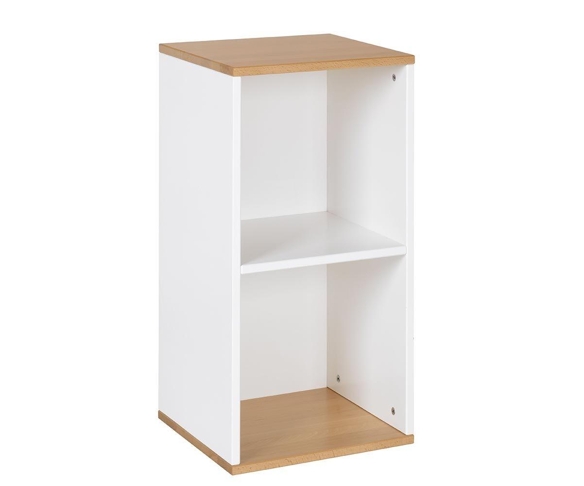 Meuble de rangement 2 cases blanc et h tre achat multicases - Meuble de rangement case ...