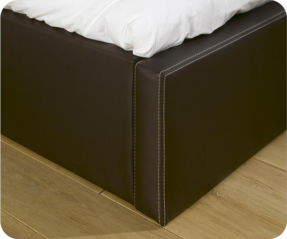 pack lit coffre jem marron 90x200 cm avec matelas. Black Bedroom Furniture Sets. Home Design Ideas