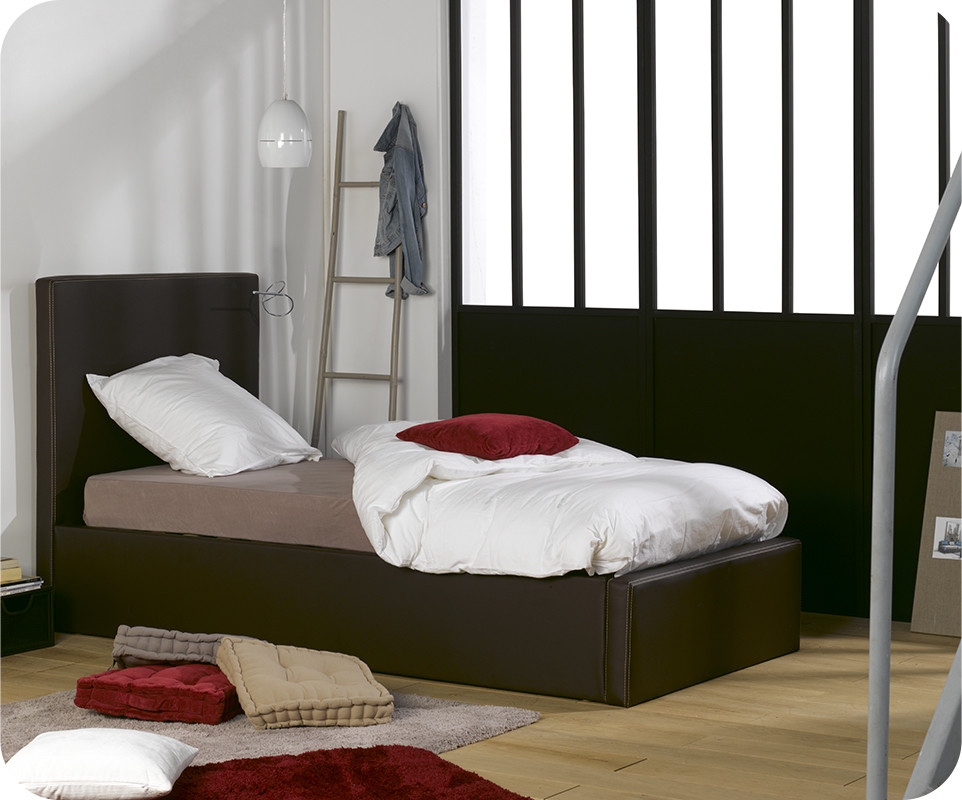 pack lit coffre jem marron 90x200 cm avec matelas. Black Bedroom Furniture Sets. Home Design Ideas