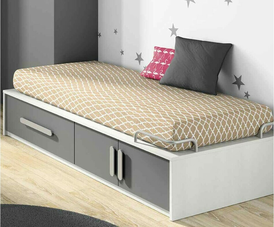 Lit enfant Planet blanc et gris anthracite