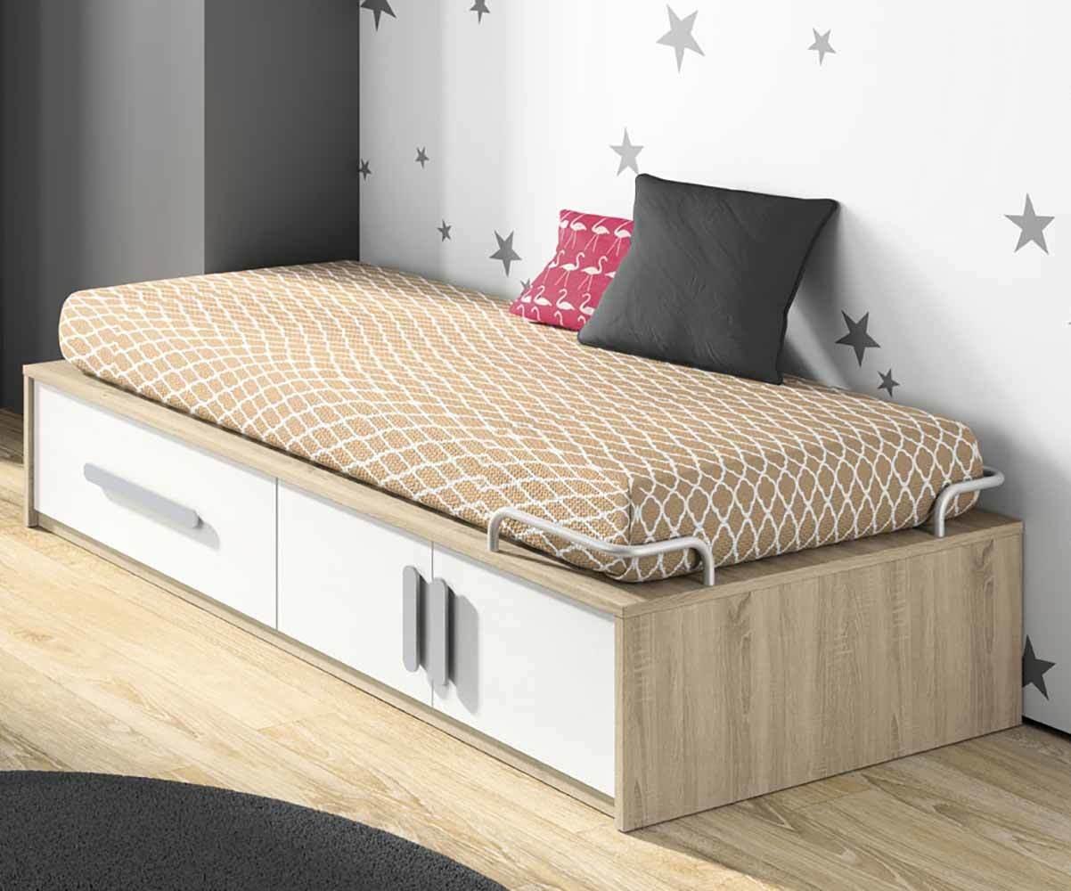 lit enfant planet blanc et ch ne avec rangements. Black Bedroom Furniture Sets. Home Design Ideas