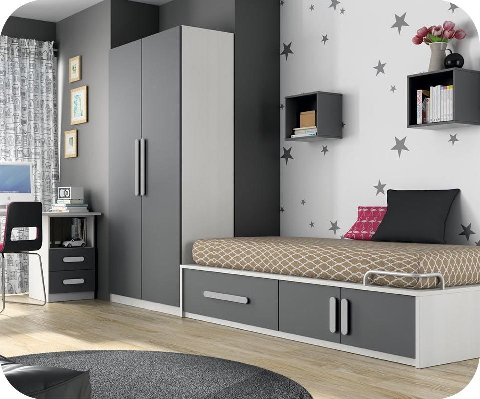 Chambre enfant planet blanc et gris anthracite - Chambre gris blanc ...
