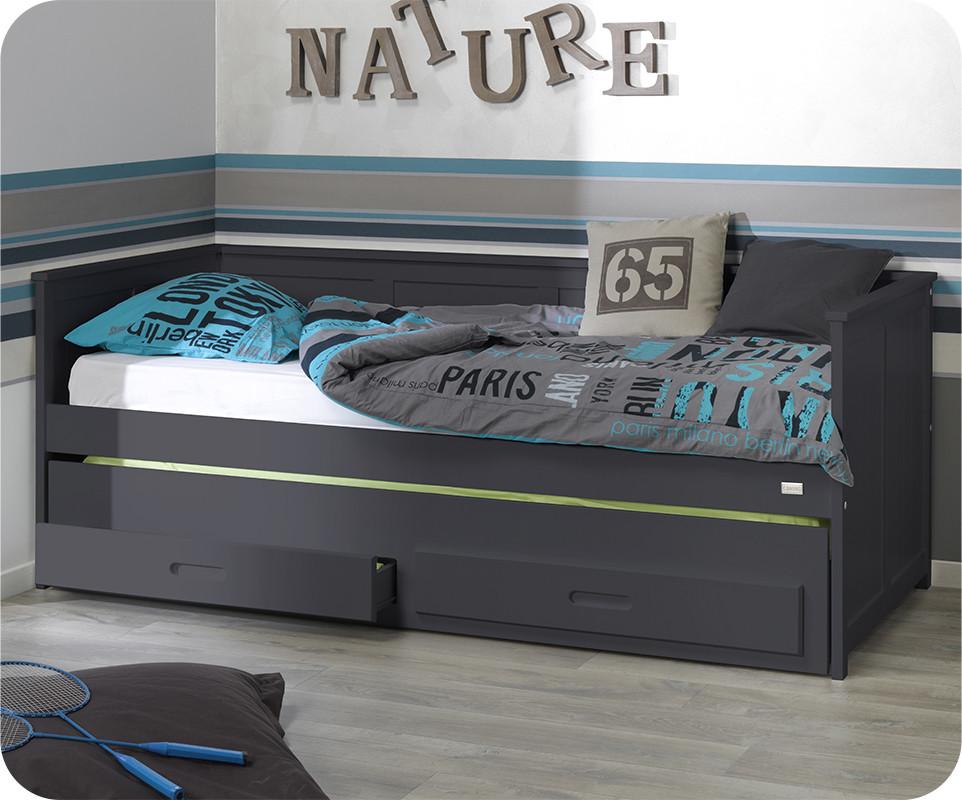 lit enfant gigogne swam gris anthracite 90x200 cm. Black Bedroom Furniture Sets. Home Design Ideas