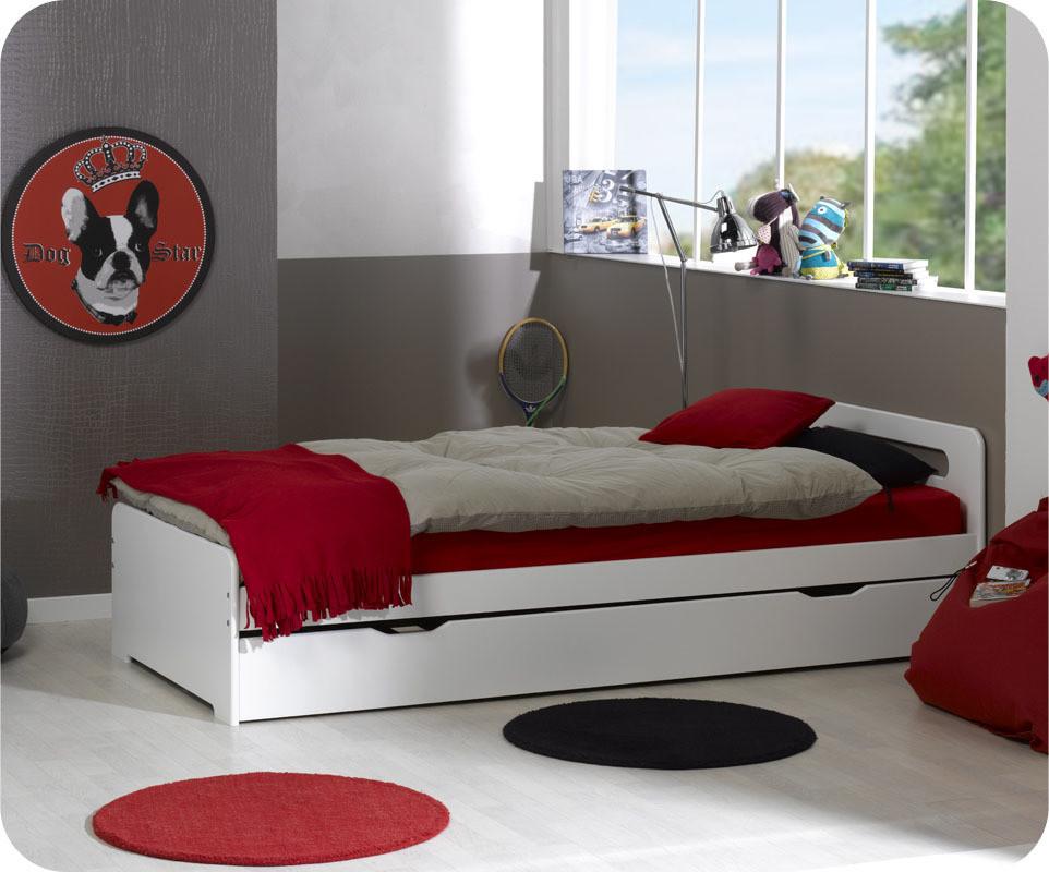 lit enfant gigogne eden blanc 90x190 cm avec 2 matelas. Black Bedroom Furniture Sets. Home Design Ideas